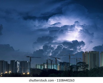 Lightning over Punggol, Singapore