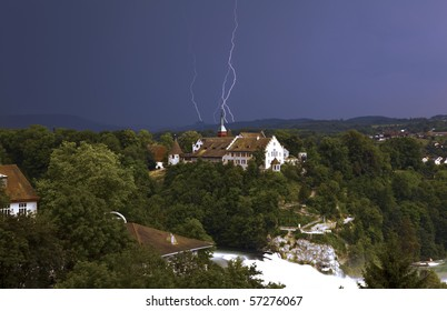 Lightning over Rhine-Falls Switzerland