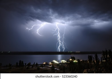 Lightning over the river