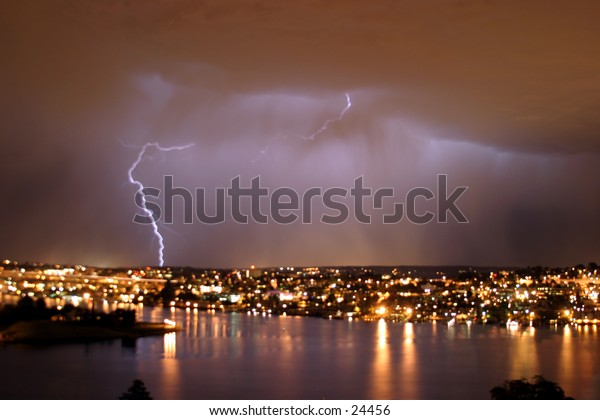 lightning over seattle during a storm