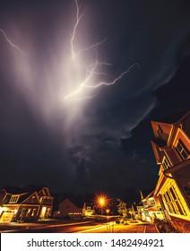 Lightning over suburban house in North Carolina