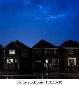Lightning Over Suburbs