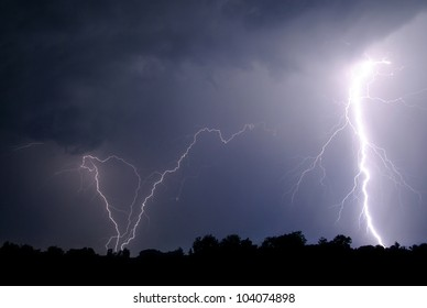 Lightning over the woods