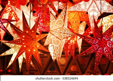 Lightning paper lantern hanging on the xmas market