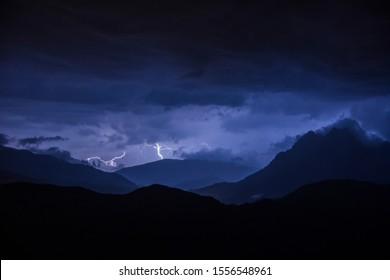Lightning in Pedraforca Valley, Barcelona, Spain