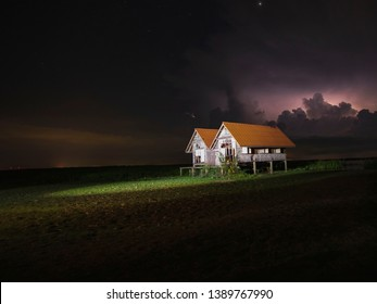 The lightning in sky and night.