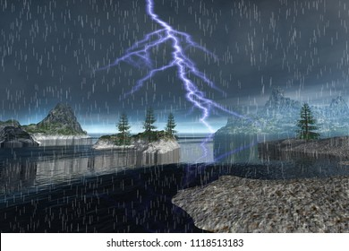 Lightning and  Storm, 3d rendering, an autumn landscape, rain over the islands, trees on the rocks and reflection in the sea.
