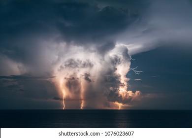 Lightning storm captured over the Atlantic
