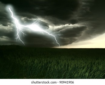 lightning  storm and the Corn