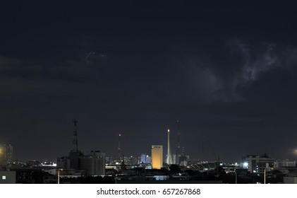 Lightning storm over Bangkok city