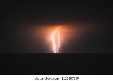Lightning storm over Black sea.