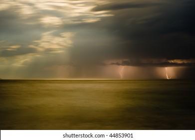 Lightning storm over Bluestone Bay on Tasmania's East Coast