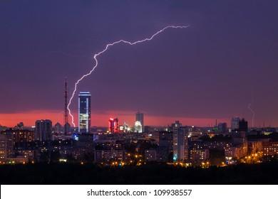 lightning storm over city