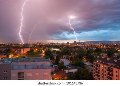 Lightning storm over city Zagreb, Croatia.