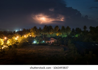Lightning storm over the country house