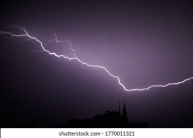 Lightning storm over a Dutch church