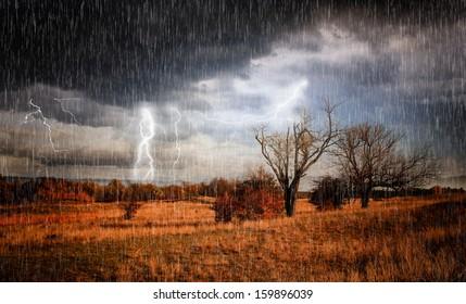 Lightning storm over land