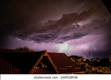 Lightning storm over a residential area