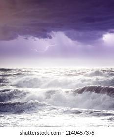 Lightning storm over rough sea