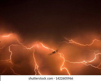 Lightning storm,  thunderstorm flash over the night sky. stormy weather
