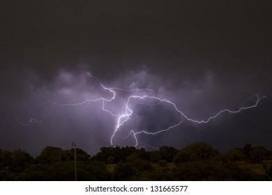 Lightning storm Whiteman Perth Western Australia