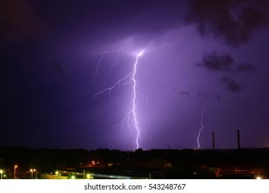 Lightning strike in the city