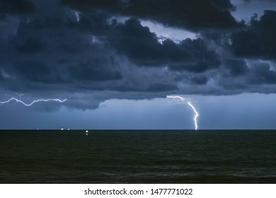Lightning strike and dramatic clouds over the North Sea