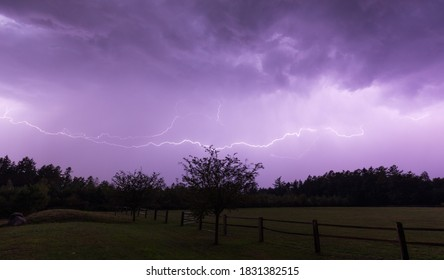 Lightning strike during a summer thunderstorm