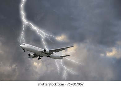 Lightning strike on a passenger plane