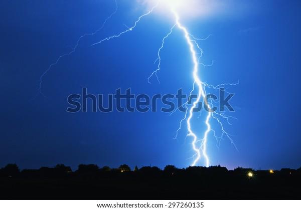 Lightning strike on a stormy night