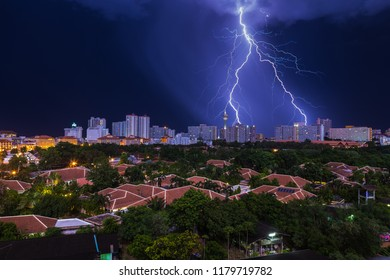 Lightning strike over the city