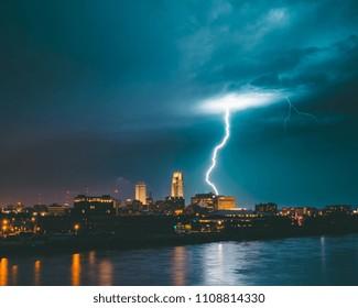 Lightning strike over downtown Omaha, Nebraska Skyline