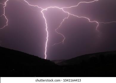 Lightning strike over kryštofovo údolí viaduct near Liberec Czech Republic