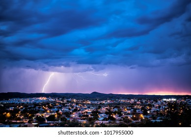 Lightning strike and thunderstorm at Windhoek, Namibia, Africa