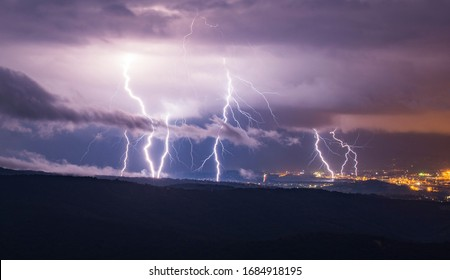 Lightning strikes in the hills of SW Slovenia.