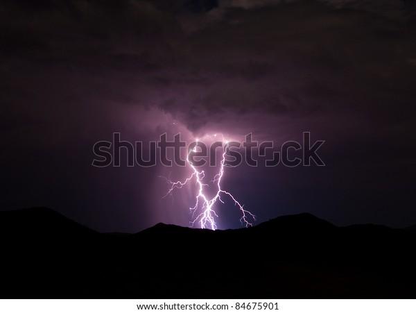 Lightning strikes in the mountains surrounding the Anza-Borrego Desert.