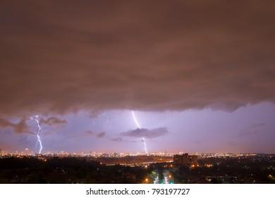 Lightning strikes over Mississauga, Ontario, Canada