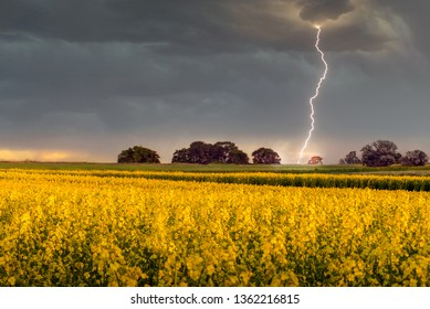 Lightning strikes a rapeseed field in Hampshire, England