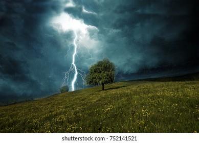lightning striking a hill