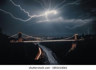 Lightning striking over the Clifton Suspension Bridge