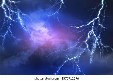 Lightning, thunder cloud dark cloudy sky