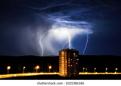 Lightning and thunderstorm captured the small city of Novouralsk, where residents of a multi-storey building were frightened when lightning struck exactly at their house. Rain started