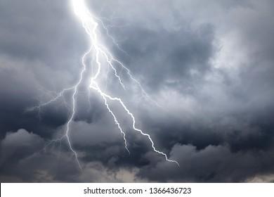 Lightning thunderstorm flash over the  sky.