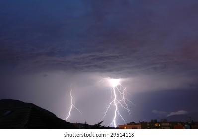 Lightnings in a dark thunderous night