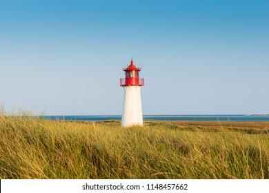 Lightouse on dune on Sylt island. Germany.