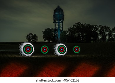 Lightpainting at old water tower, Germany