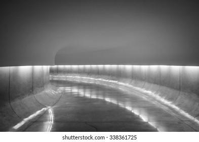 Lights along a underground empty tunnel