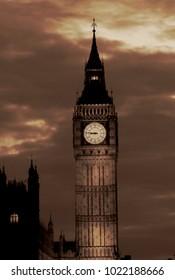 Lights of Big Ben at Dusk - London - UK