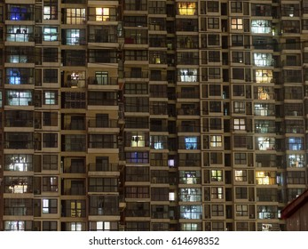 lights of chinese flats at night