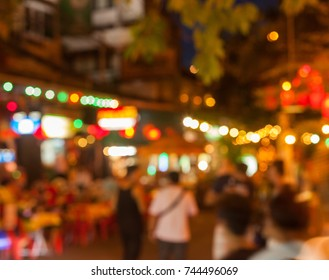 Lights and crowds on Khao San Road, Bangkok